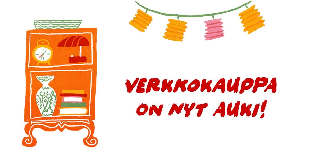 """Piirroskuvassa oranssi hylly ja muita tavaroita ja teksti """"verkkokauppa on nyt auki!"""""""