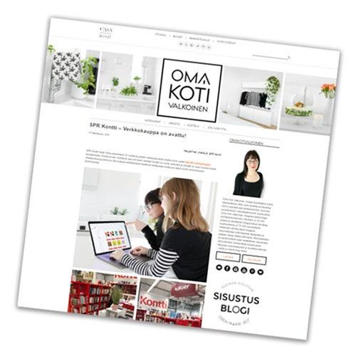 Kuvakaappaus Oma Koti Valkoinen -blogin sivusta, jossa näkyy Kontti-artikkeli osittain. Yläreunassa blogin logo ja sisustuskuvia.