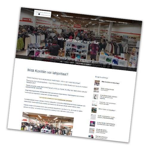 Kuvakaappaus Tavaravalmentaja-blogin sivusta, jossa näkyy Kontti-artikkeli osittain. Yläreunassa blogin logo ja kuva Joensuun Kontista.