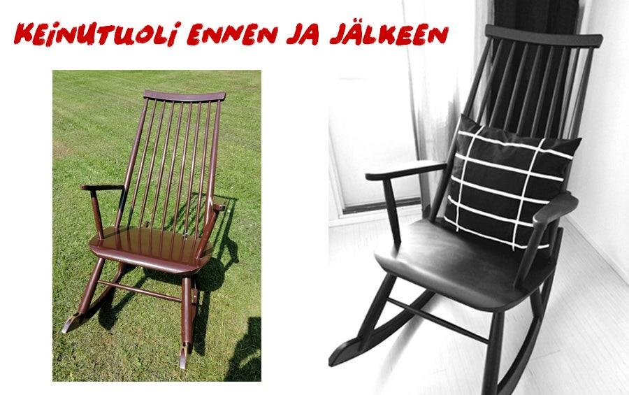 Vasemalla ruskea kulunut keinutuoli ja oikealla musta, kunnostettu tuoli.