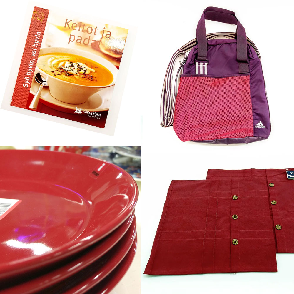 Kollaasissa punaisia tuotteita: mm. lautasia, keittokirja, tyynynpäällisiä
